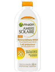 Garnier Ambre Solaire Sonnencreme / Feuchtigkeitsspendende Sonnenschutz-Milch / LSF 20, 3er Pack - 3 x 400 ml