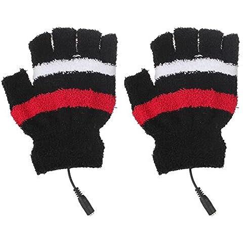 Meily Invierno sin dedos portátil USB Calefacción cálidas manos calientes guantes calefactables