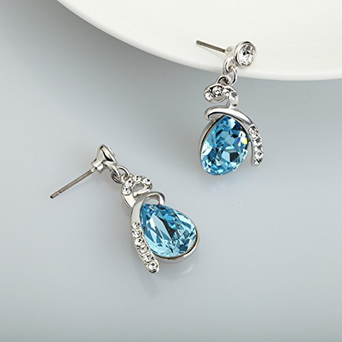 SWAROVSKI ELEMENTS Platinum Plated Blue Crystal Teardrop Drop/Dangle Earrings
