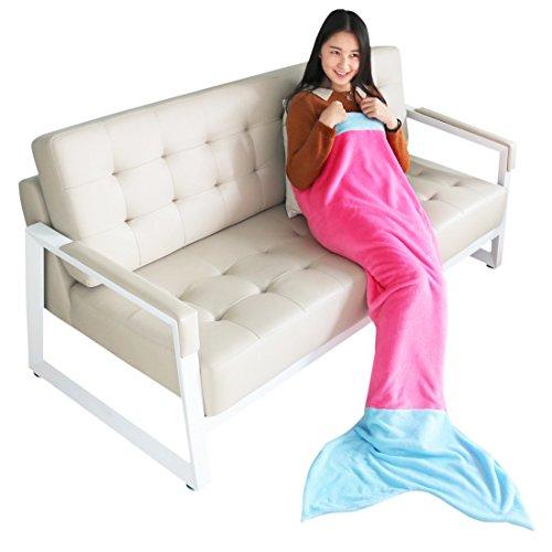 YiZYiF Handgemachte Meerjungfrau Decke Fleece Sofadecke Schlafsack Mermaid Blanket Kostüm für Kinder Mädchen (L, Dunkel Rosa + Blau)