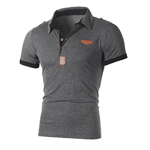 Klassisches Kurzarm-polo-shirt (T-Shirts,Honestyi 2018 Neueste Modell Herren Poloshirt Kurzarm Klassisches Basic T-Shir hochwertigem Single Jersey Stoff Sweatshirt Kurzarmshirt blusen Tops Streetwear M-XXL (M, Grau))