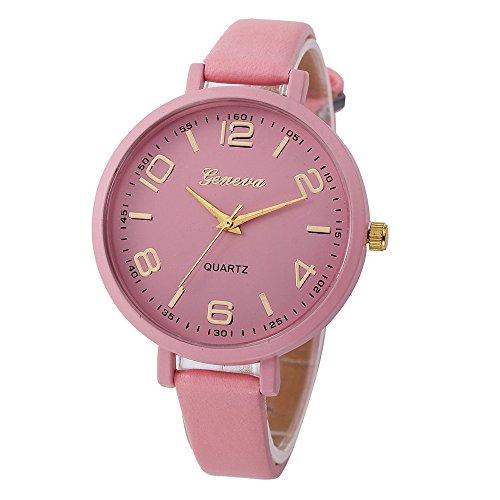🔥 Frauen Faux-Thin-Leder-Band Net Farbe Elegante Armbanduhr Analoge Quarz Uhr Armband Mode Verkauft der Einfarbig Damenuhr Charm Zubehör LEEDY