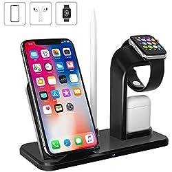 Wonsidary Chargeur sans Fil pour iPhone, 4 en 1 Station de Charge Rapide Qi avec Support pour Apple Pencil, Compatible avec iWatch Series 4/3/2/1, AirPods, iPhone XS/X/Max/XR/8, Samsung S9/Note 8/S8