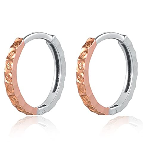 14ct 585 Rose and White Gold Diamond-Cut Hoop Creole Huggie Earrings (Diameter 0.5 Inch) Black Friday Christmas Women Jewellery Gift