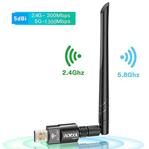 Aoyool WiFi Adapter USB 3.0 AC1200 WiFi Stick Wireless Dual Band mit Abnehmbarer 5dBi Antenne Wireless USB WiFi Dongle für Windows XP Vista Mac OS 10.7