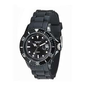 Madison New York - SU4167N - Montre Mixte - Quartz Analogique - Cadran Noir - Bracelet Silicone Noir