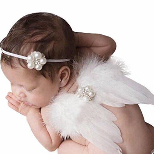 HENGSONG Baby Neugeborene Fotoshooting Kostüm Engelsflügel Fotografie Prop Engel Feder Perle Haarband (Lange Engelsflügel Kostüm)