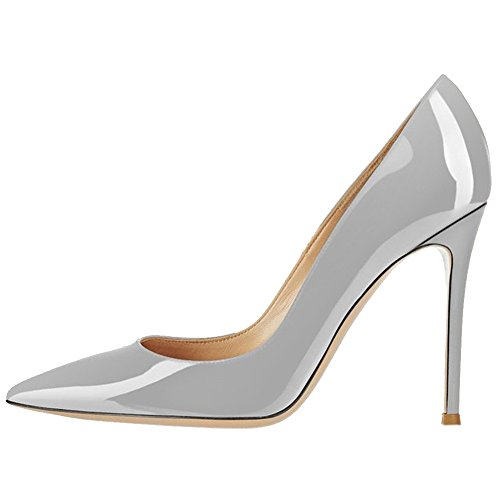 EKS - Zapatos de Tacón Mujer, color gris, talla 46 EU