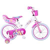 Bicicletta Bambina, Princess, 16 Pollici, Freni al Manubrio, Ruotine, Cestino e Portabambole, Bianco/Rosa
