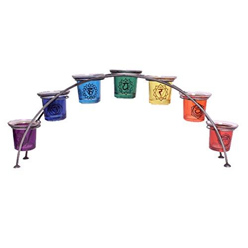 Groß 46cm glas reiki chakra regenbogen bogen teelicht teelichtglas kerzenhalter geschenk 7 halter (Geschenk Großes Bögen)