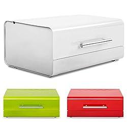 casa pura Retro Design Brotkasten Siya | lebensmittelechte Brotaufbewahrung | Metall Brotbox in drei Farben (weiß)