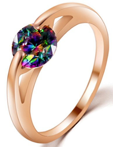 SaySure - Wedding Bride Jewelry Silver Zircon Ring Rose Gold (SIZE : 8)