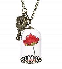 Idea Regalo - Collana con ciondolo campana di vetro con Rosa Rossa nella teca Pendente Specchio Bella e La Bestia Gioiello per Amicizia Amiche del cuore Coppia Fidanzati Regalo San Valentino Amore bronzo