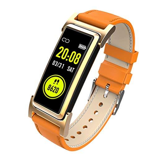 Fitness Tracker , Original Leder Multi Farbe Wahlweise Wasserdicht Herz Bewertung Monitor Kalorie Schritt Zähler Zum Draussen Sport (Color : Brown, Size : 45.2 * 20.8 * 12.0MM) - Zähler-monitor Kalorien