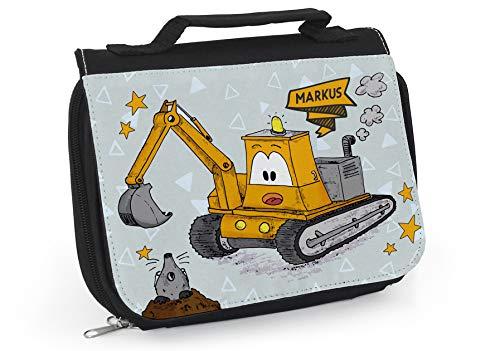 Kulturbeutel Kind Name, Waschtasche Junge, Gelbe Tasche, Kindertasche mit Bagger, Baustelle, Geschenke zur Einschulung, Bagger WT056
