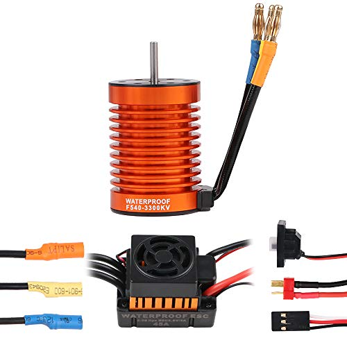 Crazepony-UK F540 3300KV Brushless Motor Waterproof with 45A ESC Electronic Speed Control Combo Set 3.175mm Shaft for 1/10 RC Car Truck by