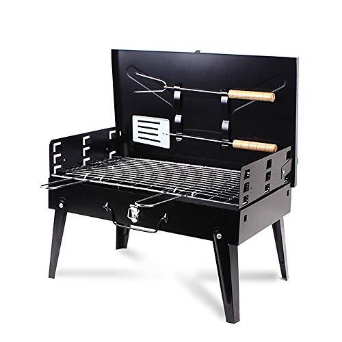 XISHUAI Barbacoa de Carbón Grill Portátil con Tenedor y Pala Plegable para Picnic, Acampadas, Camping, Parque (4-6 Personas)