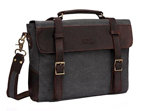 c9a499c2bb Vaschy Epoca Tracolla in Pelle di Tela di Scuola Messenger Bag Cartella di  Affari Borsa Grigia