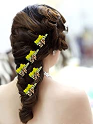 AASA Bridal Hair Accessories Fancy Juda Pins, Flower Hair Pins For Women Party Wear, Yellow, 20 Gram, 5 Pcs, Pack Of 1