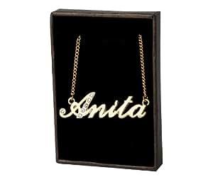 Collier Prenom Anita - Plaque or 18k Collier personnalise. 40-48 Chaine Belcher cm avec boite-cadeau et un sac-cadeau. 2mm d'epaisseur nominale