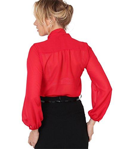KRISP® Damen Elegante Chiffon Bluse Rot (9522)
