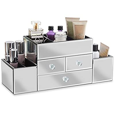Beautify Mirrored Glass Jewellery Box & Makeup Organiser with 3 Drawers - 7 Storage Sections with Glass Cleaning Cloth - inexpensive UK light store.