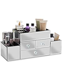Beautify Mirrored Glass Jewellery Box & Makeup Organiser with 3 Drawers - 7 Storage Sections with Glass Cleaning Cloth