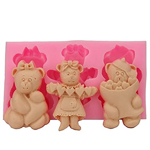 Clest F&H Cute 3 Bears Silicone 3D Cake Molds Non-Stick Sugar Fondant Jelly Jello Ice Lace Moulds Kitchen Tools