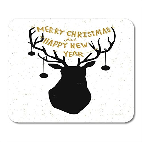 Mouse Pad Silhouette White Hipster Hand Drawn Christmas