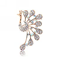 Cosanter Women Brooches Broach Peacock Shape Artificial Crystal Breast Pin for Clothing Accessories