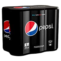 Pepsi Black, Carbonated Soft Drink, Slim Core Flavour Can, 355 ml x 6