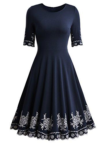 Miusol Abendkleid Sommerkleid Kurz Vintage Rockabilly Cocktail Ballkleid Blau - 5