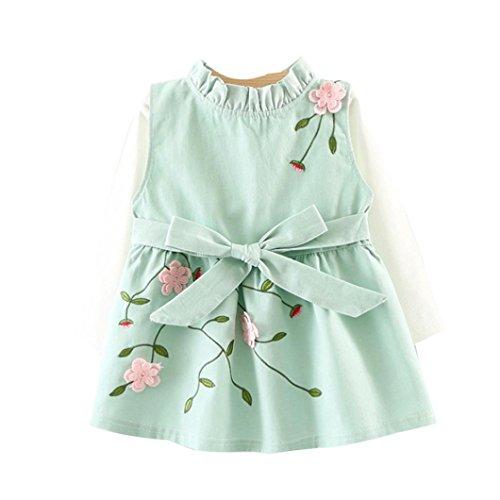 Manadlian Mode Kleinkind Säugling Kind Baby Mädchen Blumen Bowknot Prinzessin Kleid T-Shirt Zweiteiliger Anzug (12M, Grün) (Max Hände-t-shirt)