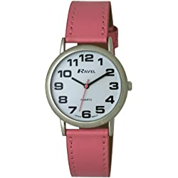 Ravel Large Case Fashion on PU Strap Women's Quartz Watch with White Dial Analogue Display and Pink Plastic Strap R0105.13.5