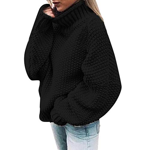 LEXUPE Damen Herbst Winter Übergangs Warm Bequem Slim Lässig Stilvoll Frauen Langarm Solid Sweatshirt Pullover Tops Bluse Shirt(Schwarz,XX-Large)