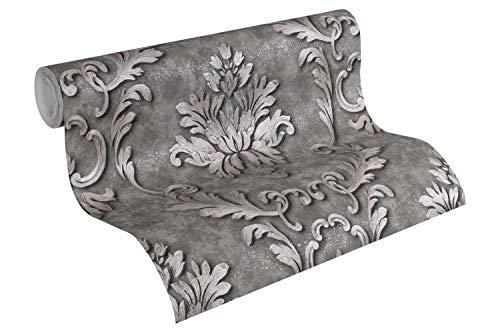 Architects Paper Vliestapete Luxury Wallpaper Tapete mit Ornamenten barock 10,05 m x 0,53 m grau metallic Made in Germany 324225 32422-5