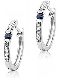 cd39e77fd Orovi Women Hoop Earrings 9 ct/375 White Gold With Brilliant Cut Diamonds  0.05 ct