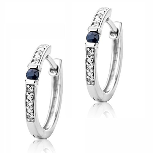 Orovi Orecchini a cerchio da donna in oro bianco da 9carati (375), con zaffiro blu e diamanti da 0,016carati