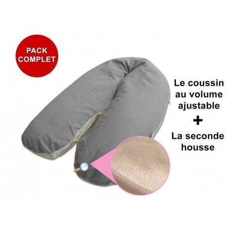 Modulit - PACK COMPLET: Coussin d allaitement 180cm Bambou Gris déhoussable, volume ajustable la seconde housse