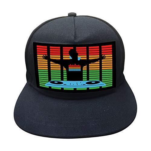 WEISY LED Baseball Cap Aktiviert Sound Glow In Dark, Leuchtender Hut für Fancy Dress Dance Halloween Cosplay (Dark Glow The Halloween-party In)