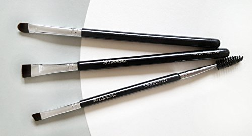 Eyebrow Brush - Duo Eye Brow Spoolie - Angled Eyeshadow Eyeliner - Precision Flat Definer Small Shader - Premium Quality 3 Piece Set - Cruelty Free Synthetic Bristles - Gel Powder Make Up Wax Pomade