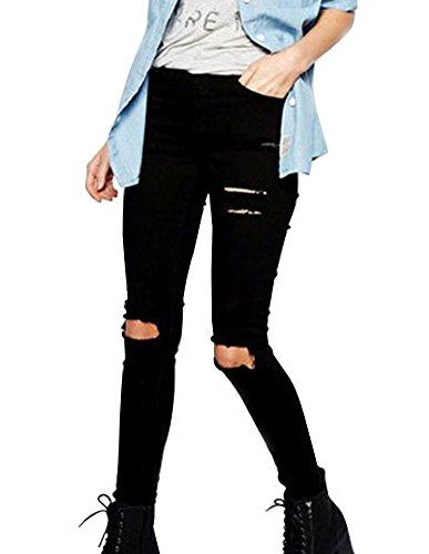 Damen Jeans Hose Schlanke Passform Gerissen Loch Denim Höhe Taille Große Größe Gerade Bein Jeans Schwarz 44EU