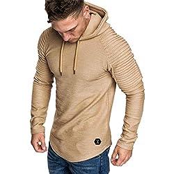 Yvelands con Capucha Camiseta de Manga Larga para Hombre Color sólido a Rayas Plisado Slim fit suéter Outwear Invierno de otoño, liquidación! (Caqui, XL)
