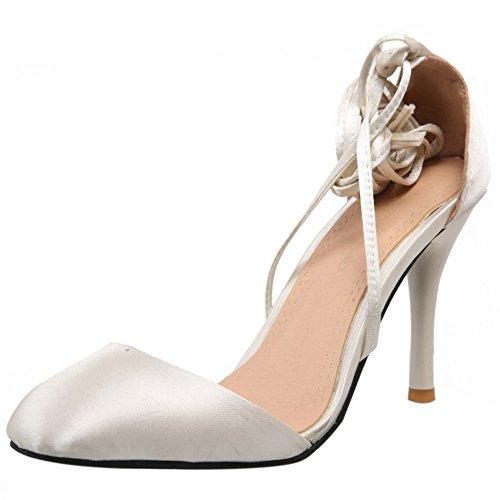 COOLCEPT Damen Mode Schnurung Sandalen Geschlossene Stiletto Schuhe Beige