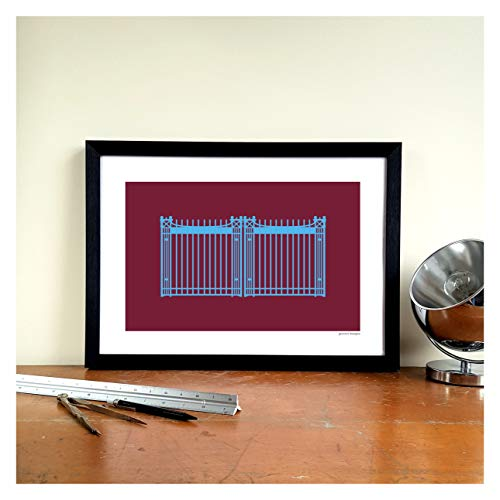 West ham united football gift graphic design art print – boleyn ground john lyall gates ground design
