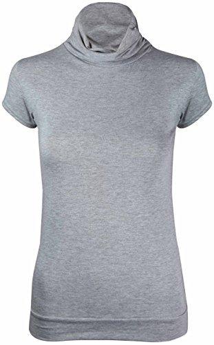 NEU Damen Rollkragen Polokragen T-Shirt Oberteile Damen Kurzarm Stretch enganliegend geraffte Rüschen-Top - Hellgrau, 40-42 (Rollkragen-shirts Kurzarm)