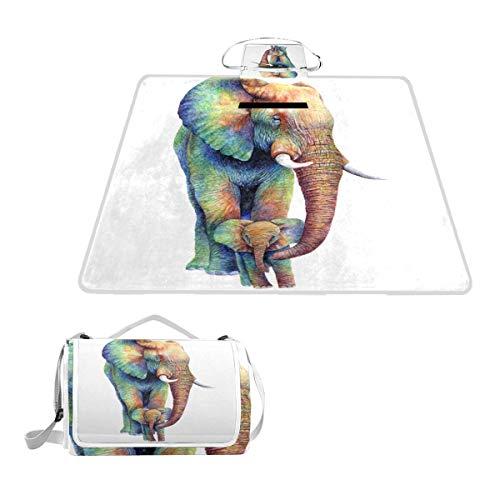 DragonSwordlinsu COOSUN Rainbow Elephants - Manta de Picnic, Impermeable, Resistente al Moho,...