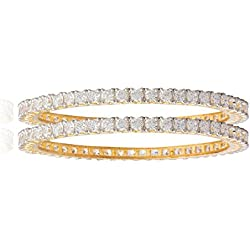 Shining Jewel 24K Gold Plated American Diamond CZ Solitaire Bangles For Women (SJ_3002_M)
