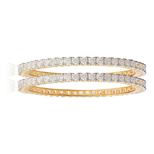 Shining Jewel 24K Gold Plated American Diamond CZ Solitaire Bangles For Women (SJ_3002_M)