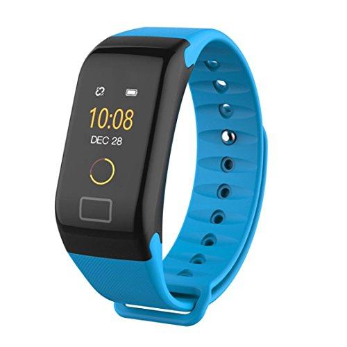 Fuibo Smartwatch, F1 Farbe Fitness Blutdruck Sauerstoff Pulsmesser Smart Watch Armband Intelligente Armbanduhr Sport Fitness Tracker Armband (Blau)